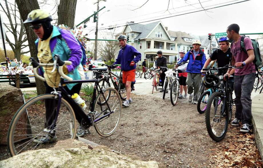 NEW HAVEN- Participating bikers for the annual Rock to Rock Earth Day Ride successfully make it to the finish point at East Rock Park College Woods in New Haven on Saturday afternoon. Chynna Davis/ For the Register Photo: Chynna Davis / Chynna Davis