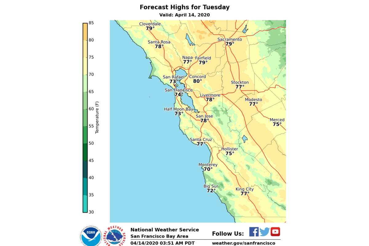 Afternoon highs forecast by the National Weather Service for the San Francisco Bay Area, April 14, 2020.