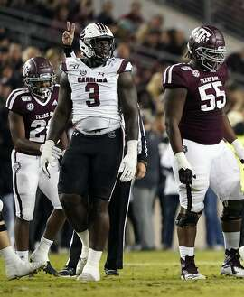 South Carolina State's Javon Kinlaw (3) walks back to the huddle after a play against Texas A&M during the first quarter of an NCAA college football game Saturday, Nov. 16, 2019, in College Station, Texas. (AP Photo/David J. Phillip)