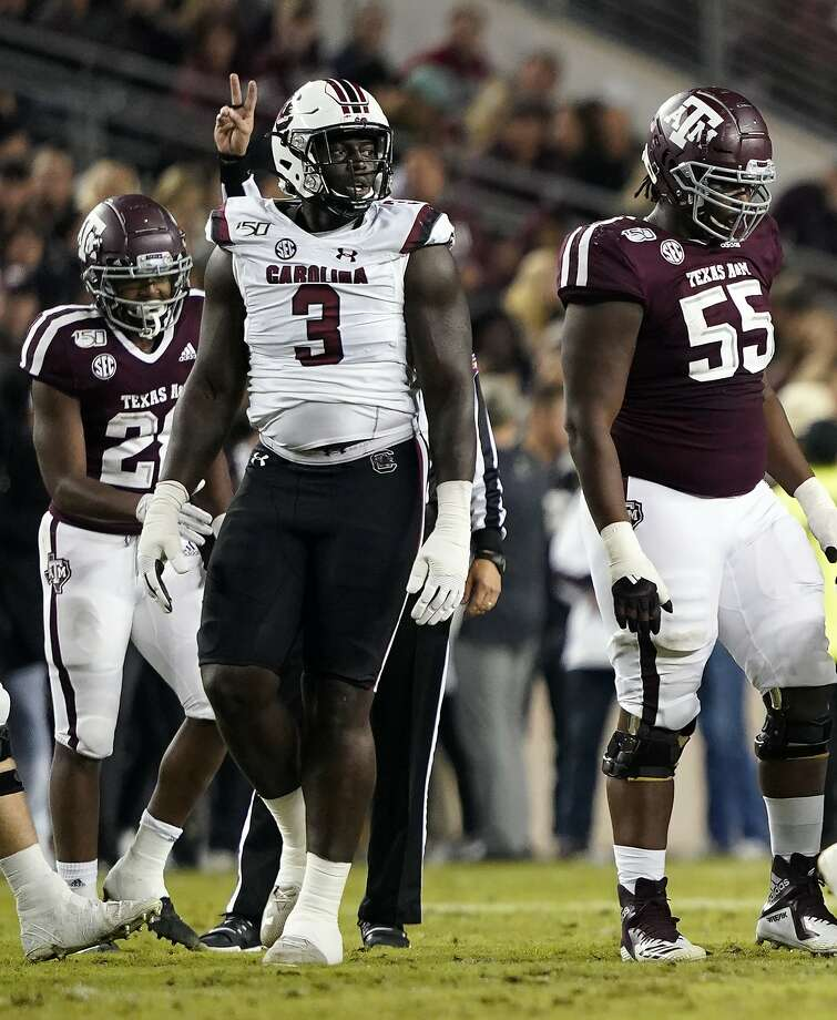 South Carolina State's Javon Kinlaw (3) walks back to the huddle after a play against Texas A&M during the first quarter of an NCAA college football game Saturday, Nov. 16, 2019, in College Station, Texas. (AP Photo/David J. Phillip) Photo: David J. Phillip / Associated Press