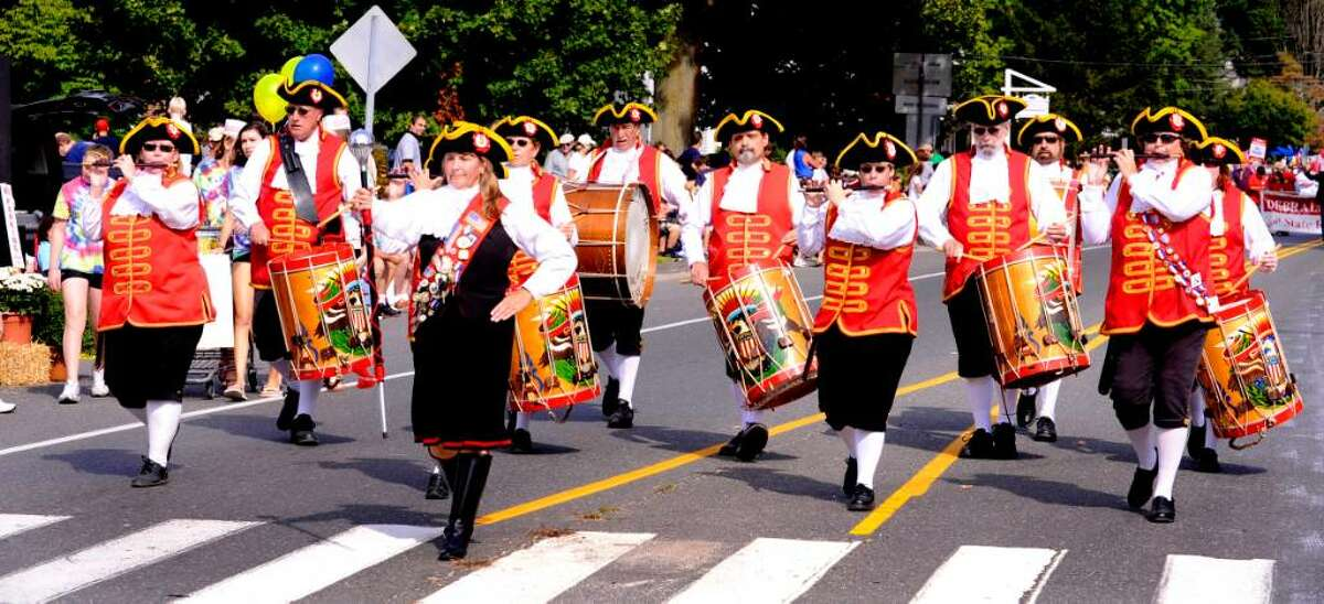 Connecticut Rebels of '76 Fife & Drum Corps march in the Newtown Labor Day Parade on Monday, Sept. 7, 2009.