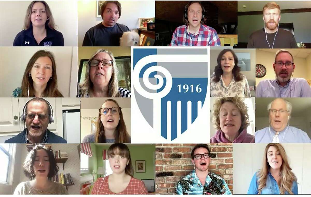 Members of the New Canaan Country School faculty and staff chorus recently joined together to sing the school's song, Audentes Fortuna Juvat, virtually.