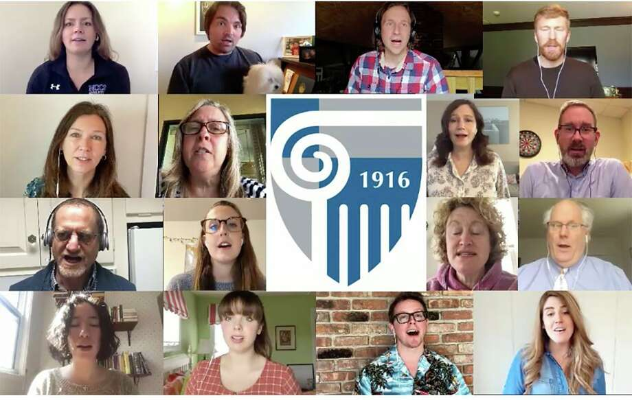 Members of the New Canaan Country School faculty and staff chorus recently joined together to sing the school's song, Audentes Fortuna Juvat, virtually. Photo: Contributed Photo