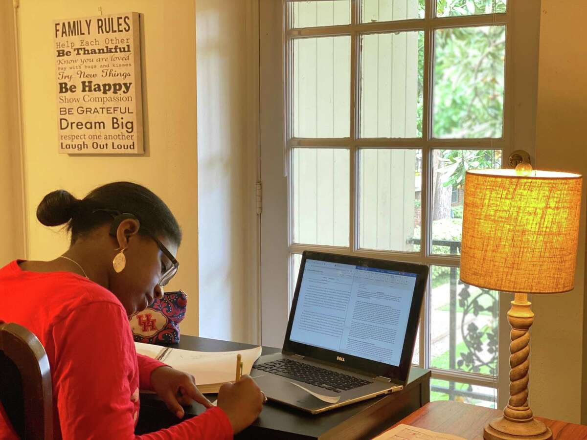 University of Houston student Gracie Baltazar, who is deaf, works with a captionist who transcribes her recorded online classes so that she can read them later. Baltazar said she was originally nervous when UH announced classes were converting to online, but added that she has received great support from her professors and classmates.