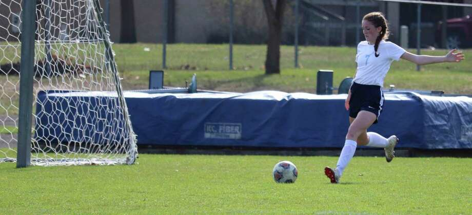 Crossroads' Jessica Cole, in a past soccer season, works on her shooting. (Courtesy photo)