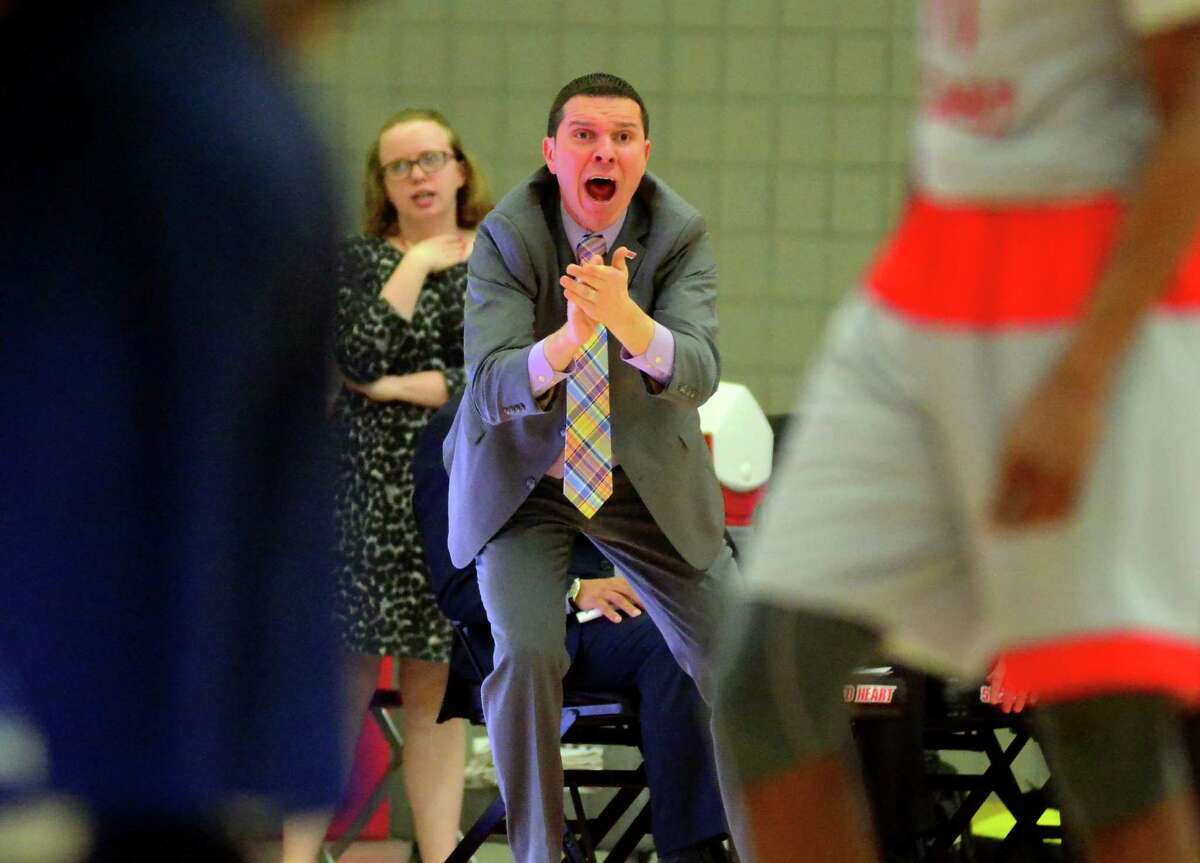Sacred Heart University coach Anthony Latina in action against Fairleigh Dickinson in Fairfield in 2017.