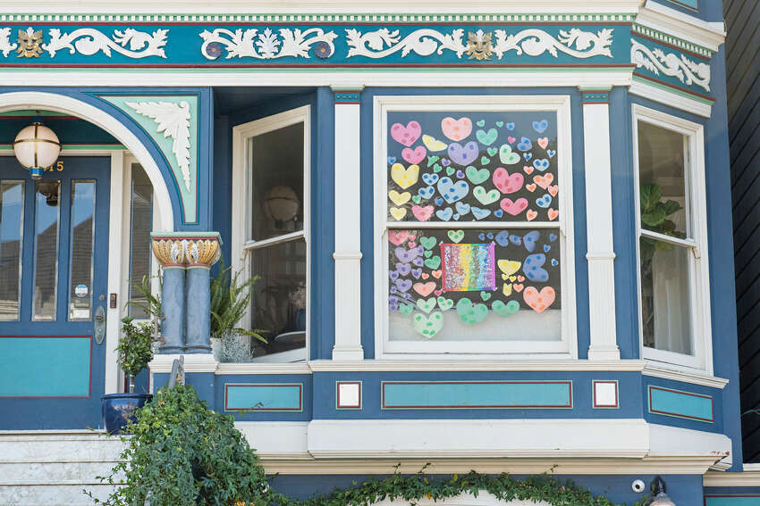 Rainbows, teddy bears and other creative, hopeful messages appeared in many San Francisco residents' windows during their fourth week of sheltering in place due to the coronavirus pandemic, April 2020.