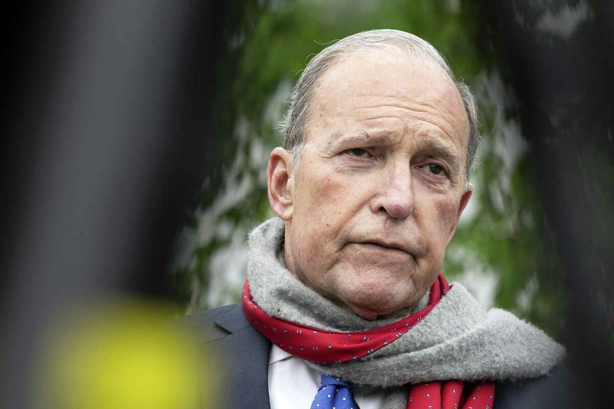 Larry Kudlow, director of the U.S. National Economic Council, speaks to members of the media in Washington, D.C., U.S., on Tuesday, April 14, 2020. The Trump administration's $349 billion program to help small businesses reeling from the Covid-19 outbreak will run out of money as early as Thursday, Kudlowsaid. Photographer: Stefani Reynolds/CNP/Bloomberg
