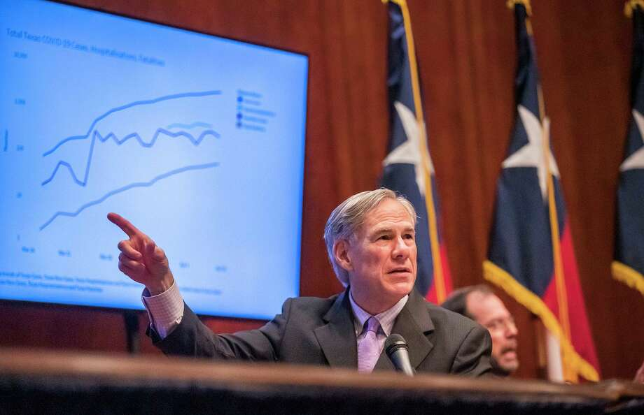 Texas Gov. Greg Abbott expressed optimism during a coronavirus news conference, Friday, April 10, 2020, in Austin, Texas. Abbott also said the state's death toll was lower than many other states. (Ricardo B. Brazziell/Austin American-Statesman via AP) Photo: Ricardo B. Brazziell, MBR / Associated Press / AUSTIN AMERICAN-STATESMAN