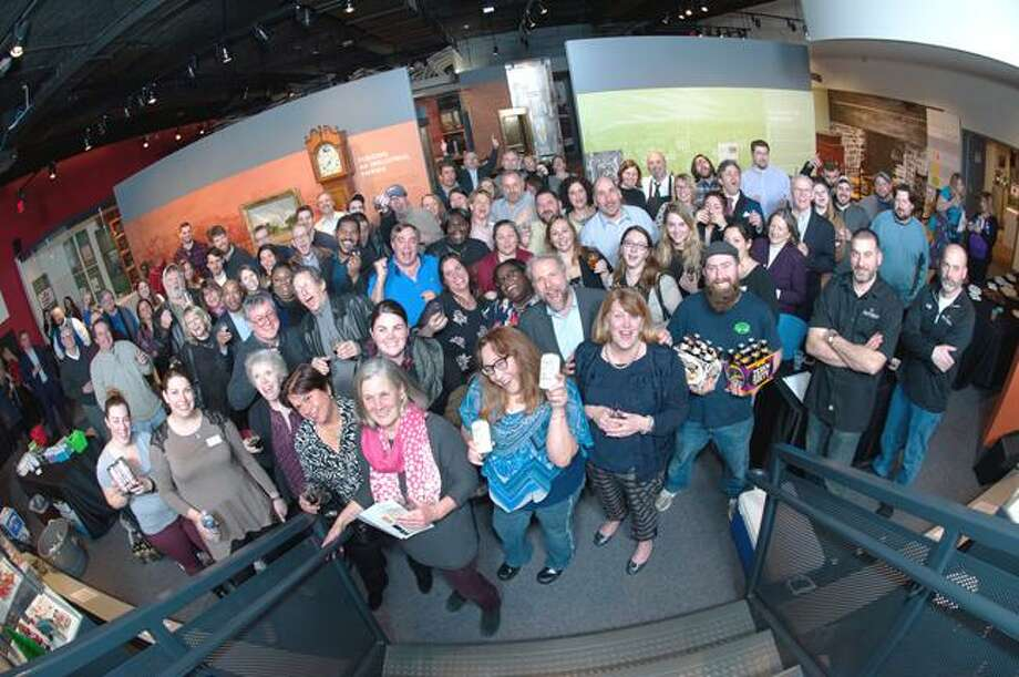 Revelers enjoy the Mattatuck Museum's Febtoberfest celebration in 2018. Because of the coronavirus, the museum's murder mystery night is being offered April 23 online. Photo: Contributed Photo /