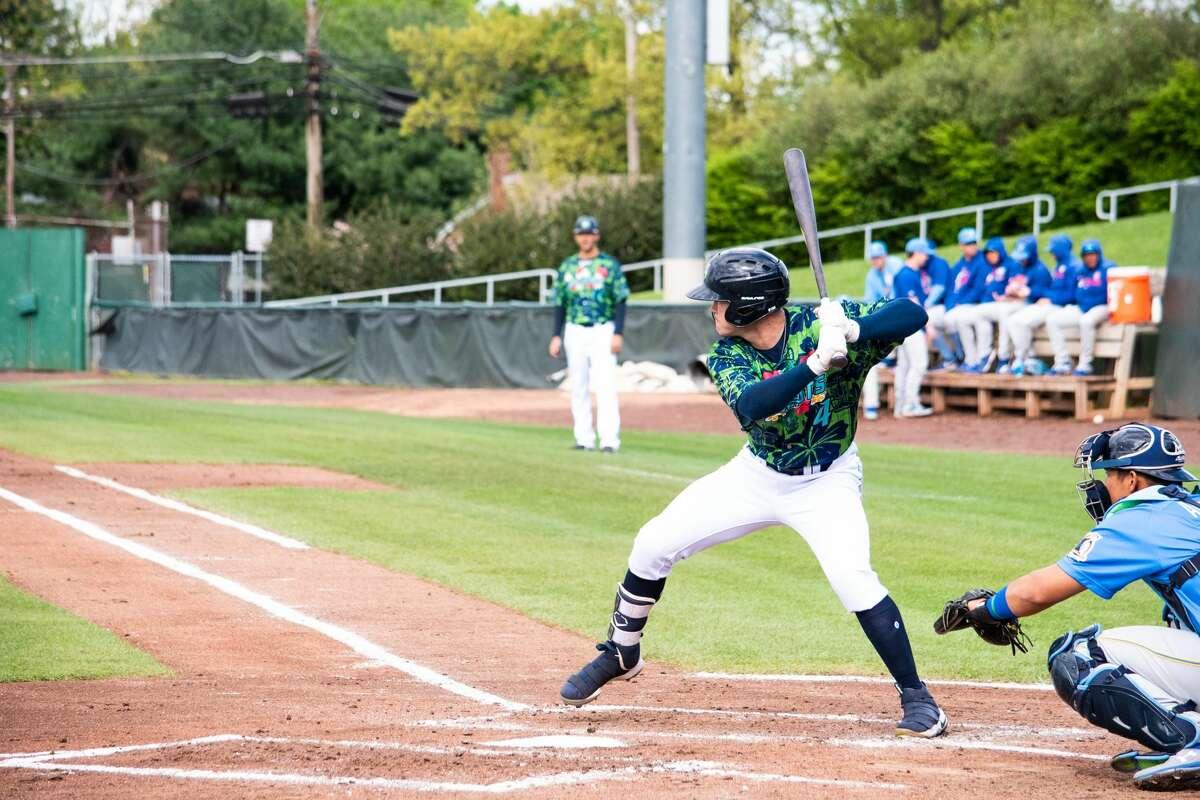 Midland High grad Austen Wade bats for the high Single-A Lynchburg Hillcats during a 2019 Carolina League baseball game. Photo byLindsay Caridi