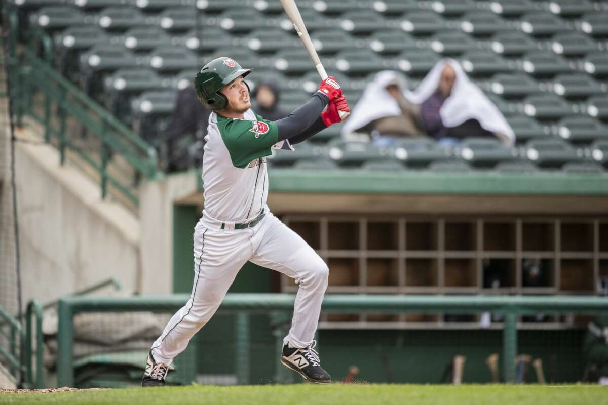 Midland Christian grad Grant Little watches the ball off his bat during a 2019 Midwest League baseball game with the low Single-A Fort Wayne Tin Caps. Photo courtesy of the Fort Wayne Tin Caps