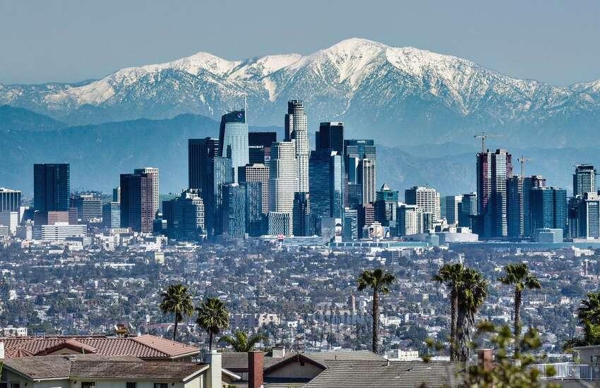 The Los Angeles skyline on April 6, 2020