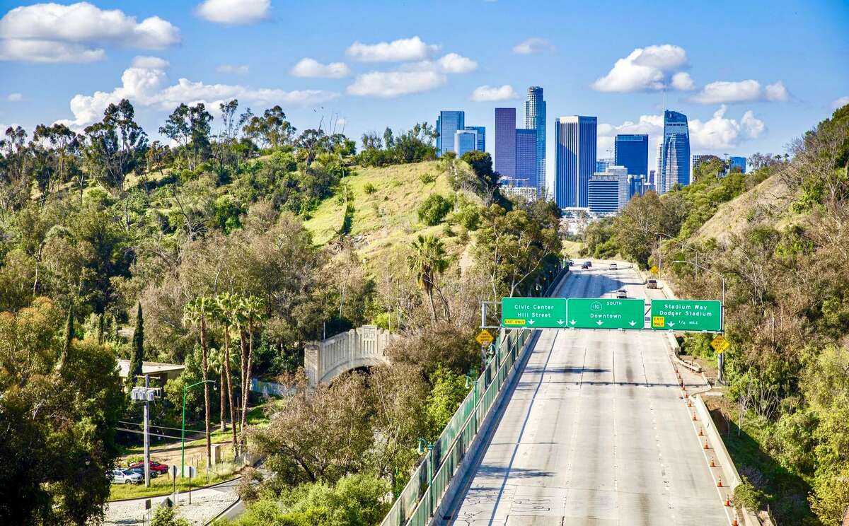 An empty Los Angeles highway at rush hour on April 7, 2020, amid a shelter0-in-place order during the coronavirus pandemic.