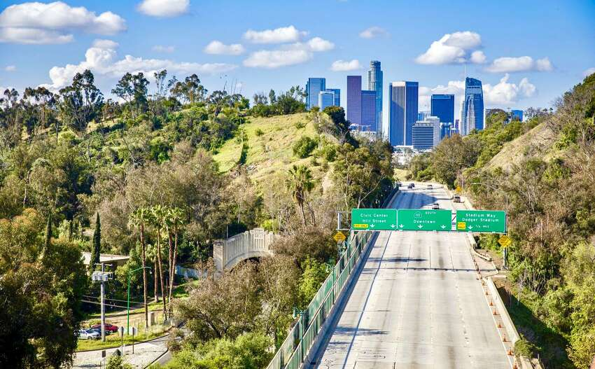 An empty Los Angeles highway at rush hour on April 7, 2020, amid a shelter-in-place order during the coronavirus pandemic.