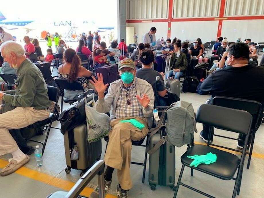 Dr. Anibal Pepper waits with countless other Americans in a Peruvian Air Force base hanger to catch a flight home to the United States after being stranded in Peru due to the COVID-19 pandemic. (Submitted photo)
