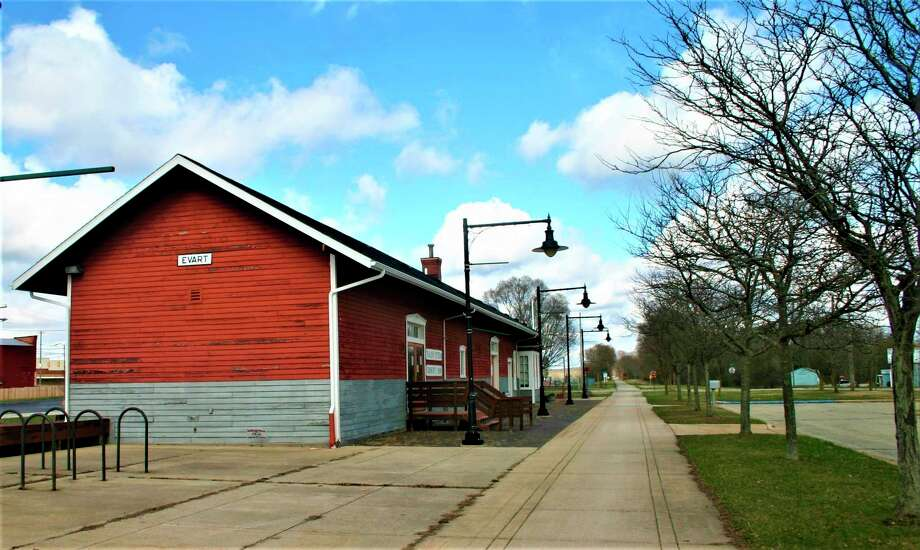 The Evart Depot, once a stopping place along the Pere Marquette Railroad, has been a community landmark since 1873. The city is working to get the Depot designated as an historic district in order to receive grant funds to help rehabilitate and preserve the structure. Once renovations are complete, the city plans to move its offices back into the building.(Herald Review photo/Cathie Crew)