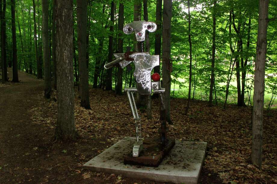 """King Stanley"" is one of the first sculptures visitors to Michigan Legacy Art Park can view as they head out on the trail. (Photo/Robert Myers)"