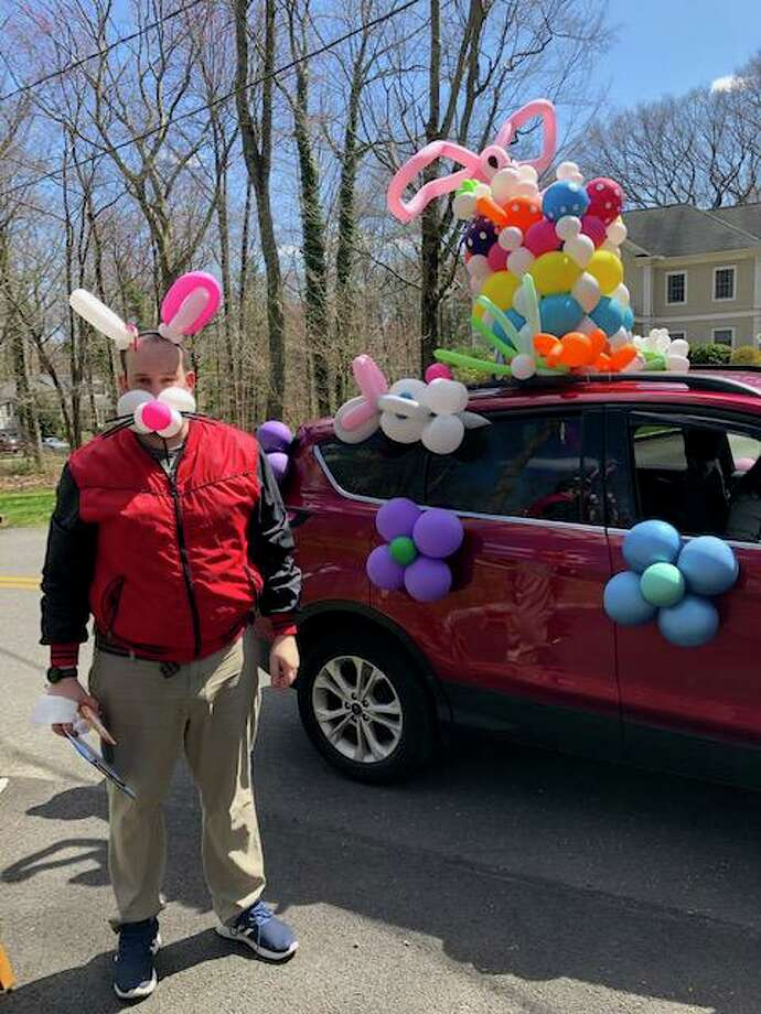 The Easter bunny, decked out in balloons, a.k.a. Scotty the Balloon Guy, is ready for his Darien Easter parade Saturday. Photo: Contributed
