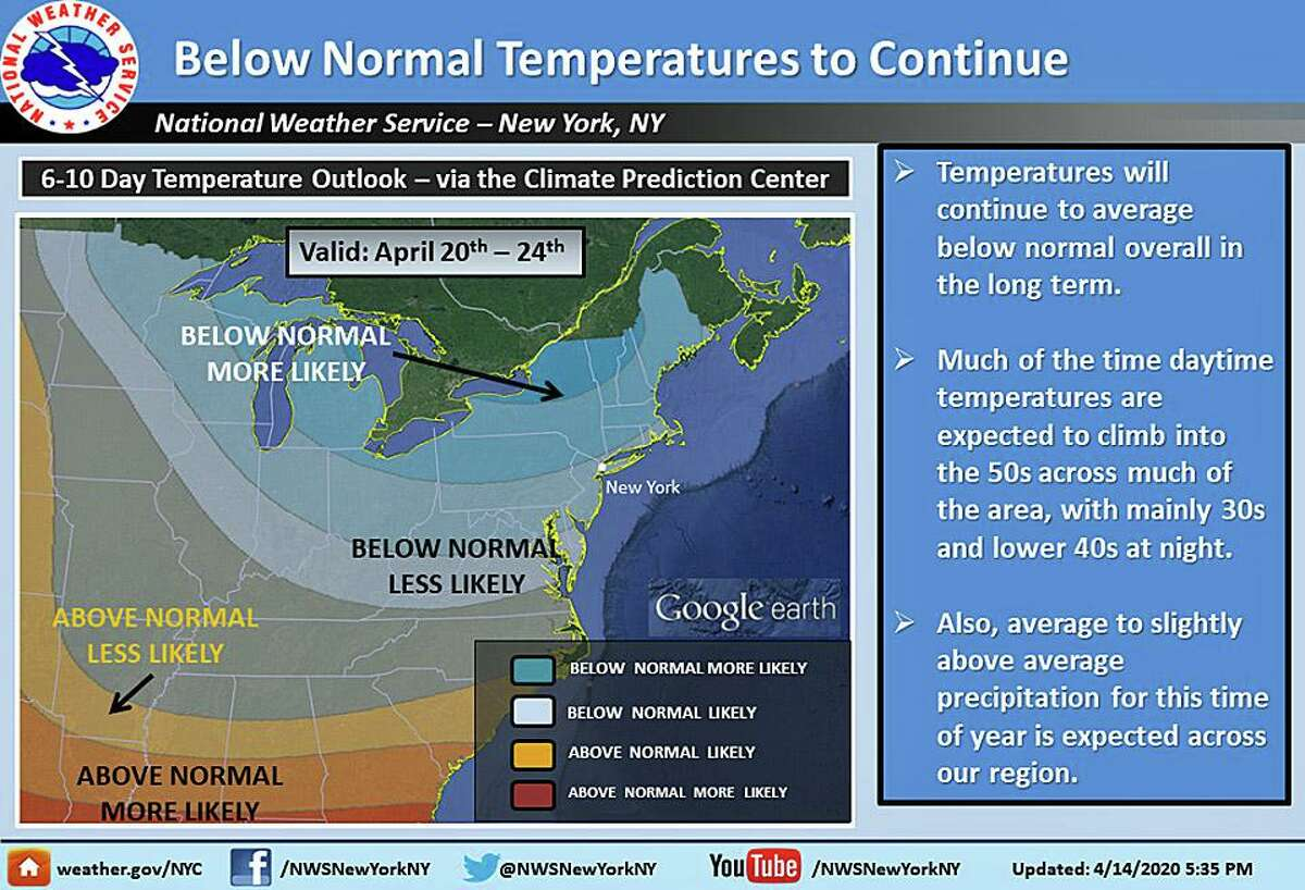 The cooler overall trend in temperatures is expected to continue over the next several days. Here is the 6 to 10 day temperature outlook from the Climate Prediction Center.