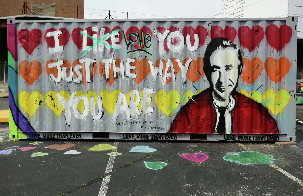 Real estate developer Jason Milligan transformed the Isaac Street Parking lot into Isaac Square Art Park where canvases with fresh murals were displayed Friday, April 9, 2020,in Norwalk, Conn.