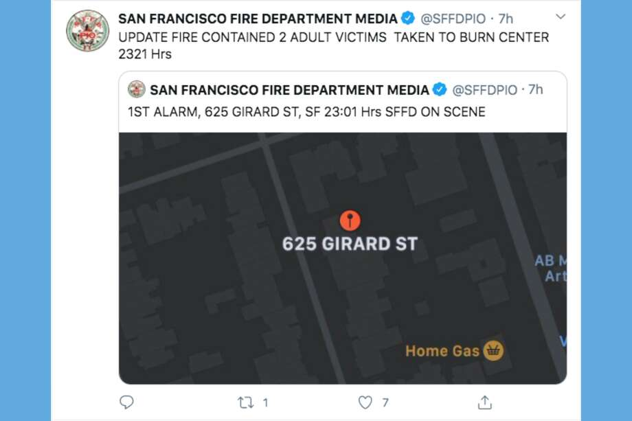 The San Francisco Fire Department responded to three separate fires on the night of April 14, 2020. Photo: Twitter Screen Capture