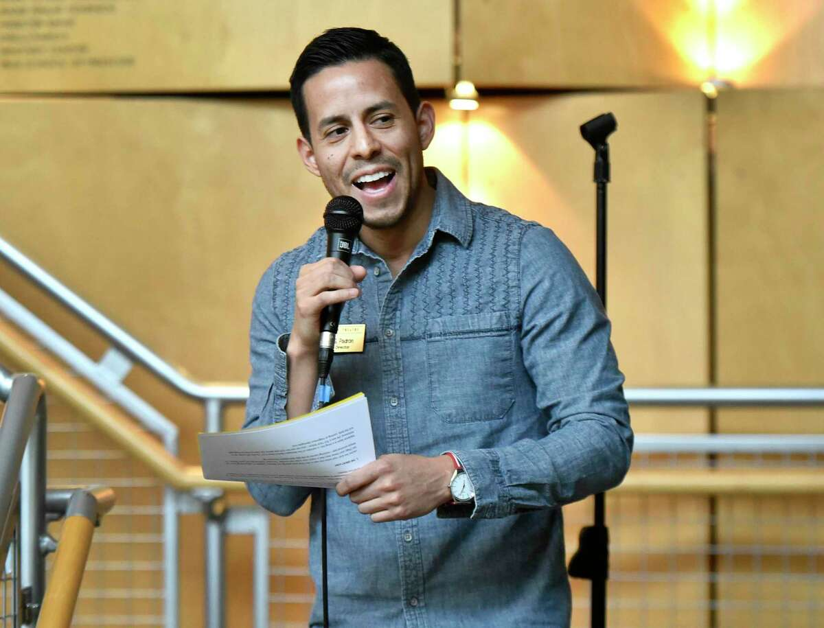 Long Wharf Theatre artistic director Jacob Padrón announces the theater's 2019-2020 season at the theater last year.