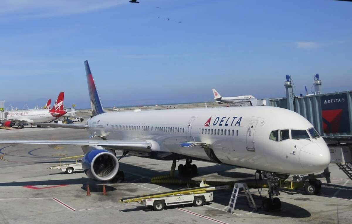 #3: Delta Air Lines roared into third place at SFO in 2019, with an 8 percent share. Like American, the carrier flew primarily to its hubs out of SFO like Atlanta, Minneapolis and Detroit, and competes for business travelers on the busy routes to Los Angeles, New York and Seattle. Delta flew just over 5 million seats in and out of SFO in 2019.