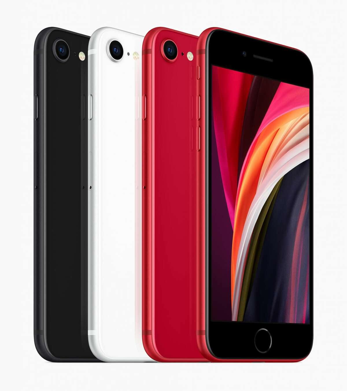 The new, lower-priced iPhone SE come in black, white and red and sells for $399. It's based on the 2014 design of the iPhone 6, but has the internals of modern, 2019 iPhones.