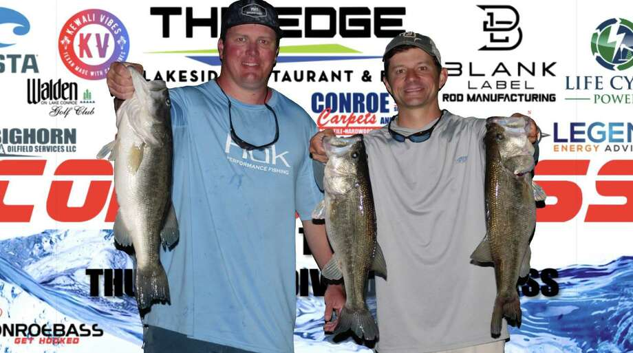 Nick Morton and Langston Johnson won the CONROEBASS Tuesday night tournament with a stringer weight of 17.25 pounds. Photo: CONROEBASS