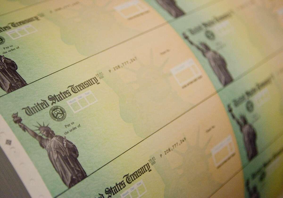 A file photo of federal stimulus checks.