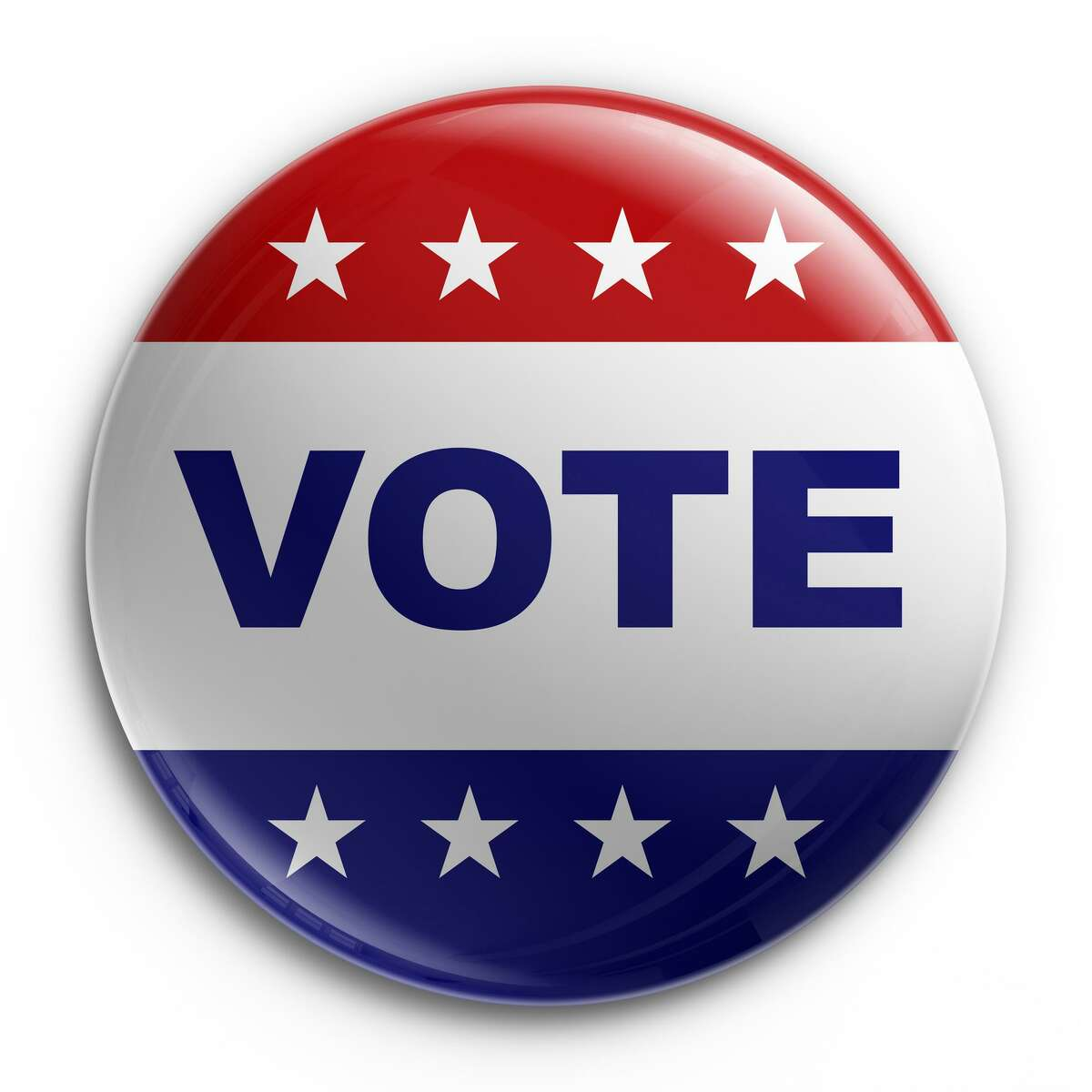 3d rendering of a badge to encourage voting; VOTE BUTTON election button
