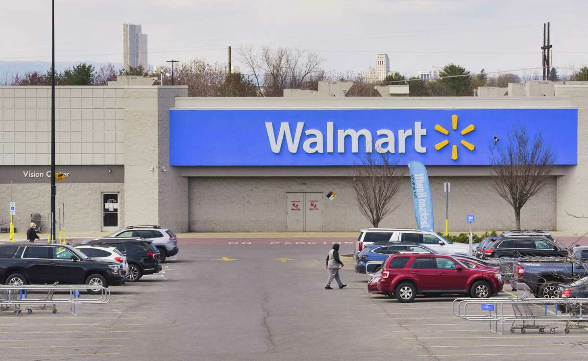 A man wielding a pellet rifle was spotted near the Walmart near the Latham Circle on Wednesday afternoon. Here's a view of the WalMart Superstore on Wednesday, April 15, 2020, in East Greenbush, N.Y. (Paul Buckowski/Times Union)