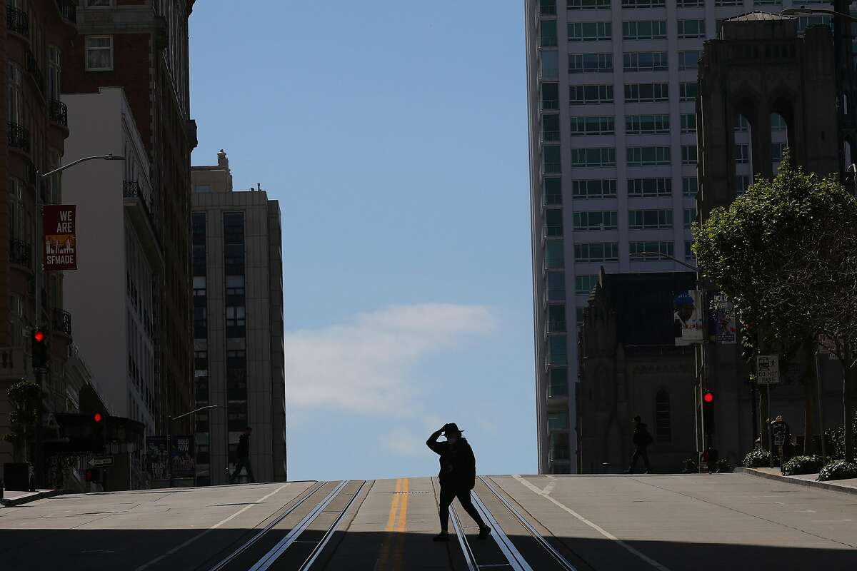 A nearly empty street in San Francisco on Sunday, April 12, 2020. Californians were beginning to socially distance themselves even before stay-at-home orders were issued by officials during the coronavirus pandemic. (Jim Wilson/The New York Times)