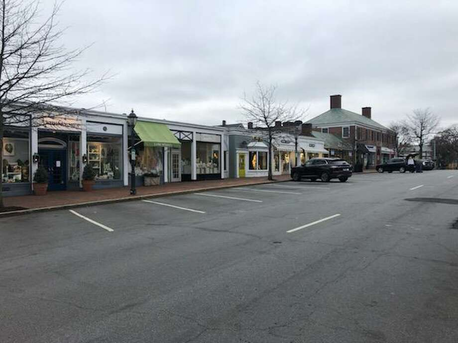 Parking spaces have been easier to find on Elm Street as more and more residents stay home, isolating to avoid the COVID-19 pandemic. Photo: Norm Jensen / Contributed Photo / New Canaan Advertiser Contributed