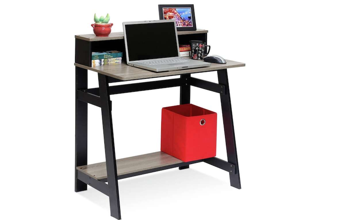 Furinno Simplistic A Frame Computer Desk, $36.59If you have a tiny apartment and need a desk that's also tiny in price, look no further than the Furinno Simplistic A Frame Computer Desk. It has enough room for your laptop, a picture frame, a few knick-knacks, pens, and even under-the-desk storage.