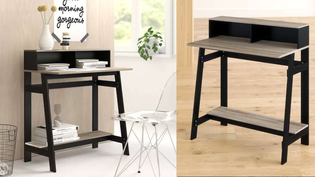 Annie Secretary Desk with Hutch, Starting at $57.99Another simple desk that isn't all that expensive, the Annie Secretary Desk with Hutch is pretty cute as far as tiny desks go. You can use the bottom shelf as storage or a place to rest your feet while you're busy working. You can get this in four different finishes (espresso, black/french oak gray, dark walnut, and Columbia walnut), ranging in prices between $57.99 and $75.99.