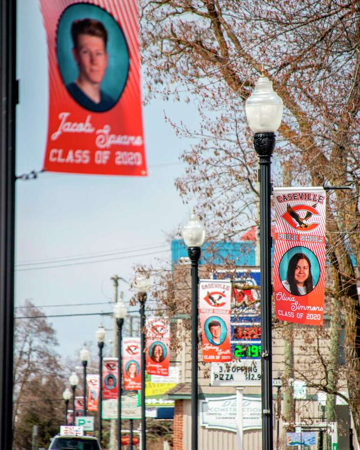 Caseville Public School is honoring the class of 2020 by hanging banners on lamp posts along Main Street featuring the name and photo of each of the school's graduating seniors. (Submitted photo/Jessica Sancrant)