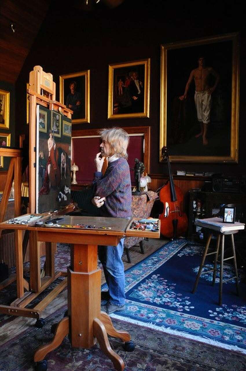 Christopher Pierce in studio painting
