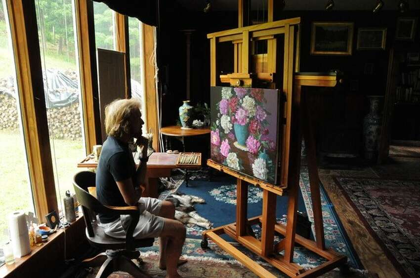 Christopher Pierce at his easel.