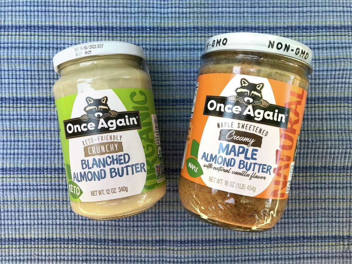 Once Again has released two new almond butters: a keto-friendly version made with blanched almonds, left, and one sweetened with maple sugar and vanilla.