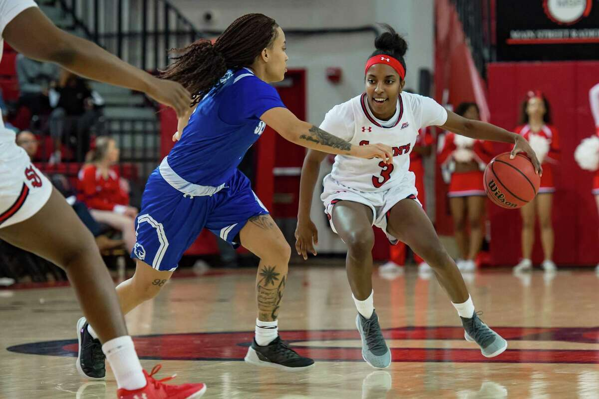 St. John's Red Storm guard Tiana England (3) during the women's college basketball game between the Seton Hall Pirates and St. John's Red Storm on March 3, 2019 at Carnesecca Arena in Queens, NY