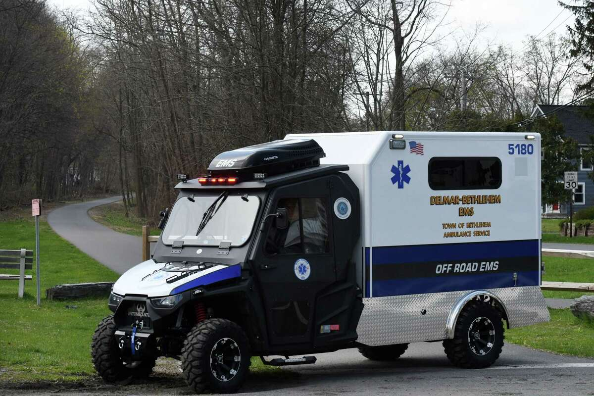 Delmar-Bethlehem EMS has a new mini ambulance based on an all-terrain vehicle on Wednesday, April 15, 2020, in Delmar, N.Y. The off road ambulance can assist injured users on the nearby Albany County Helderberg-Hudson Rail Trail. (Will Waldron/Times Union)