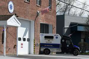 The new Delmar-Bethlehem EMS mini ambulance is backed into its parking space in the Adams Street station on Wednesday, April 15, 2020, in Delmar, N.Y. The small ambulance can assist injured users on the nearby Albany County Helderberg-Hudson Rail Trail. (Will Waldron/Times Union)