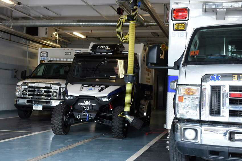 The new Delmar-Bethlehem EMS off road ambulance is parked at the Adams Street station on Wednesday, April 15, 2020, in Delmar, N.Y. The small ambulance, based on a an ATV, can assist injured users on the nearby Albany County Helderberg-Hudson Rail Trail. (Will Waldron/Times Union)