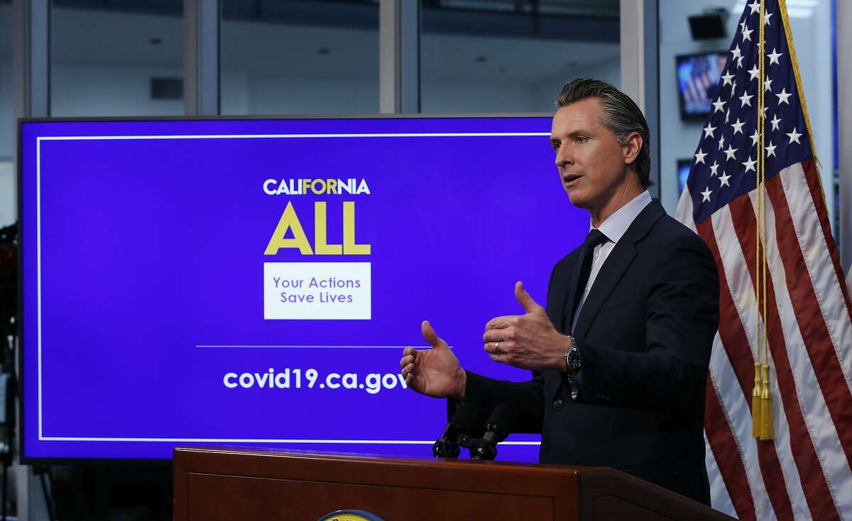 Gov. Gavin Newsom discusses coronavirus restrictions during a news conference April 14, 2020, at the Governor's Office of Emergency Services in Rancho Cordova, Calif.