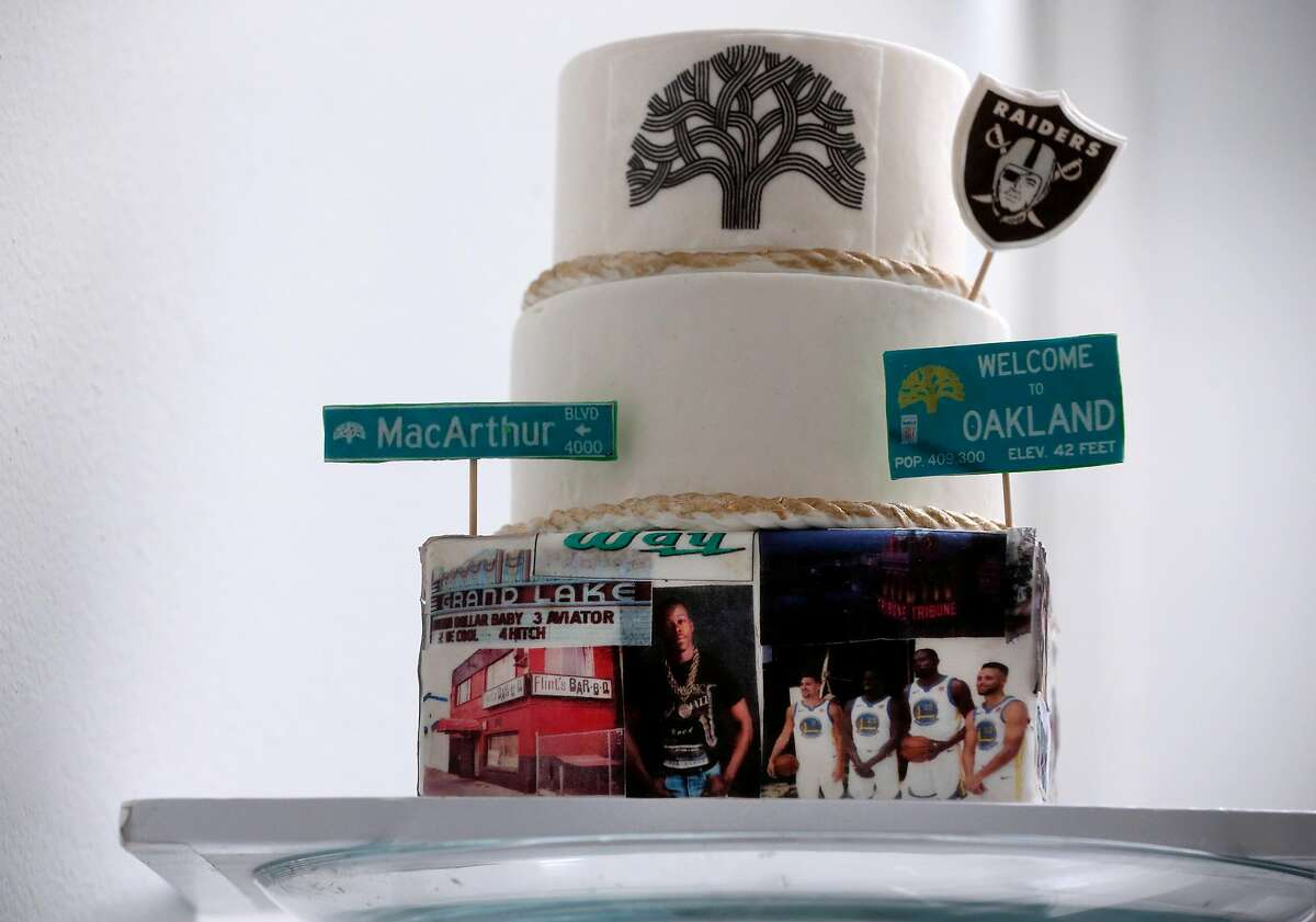 A sample cake is displayed at David Benton's Sugarsweet Cake and Cookie Studio in Oakland, Calif. on Wednesday, April 15, 2020. Benton's bakery has been limited to pickup and delivery service only during the coronavirus pandemic.