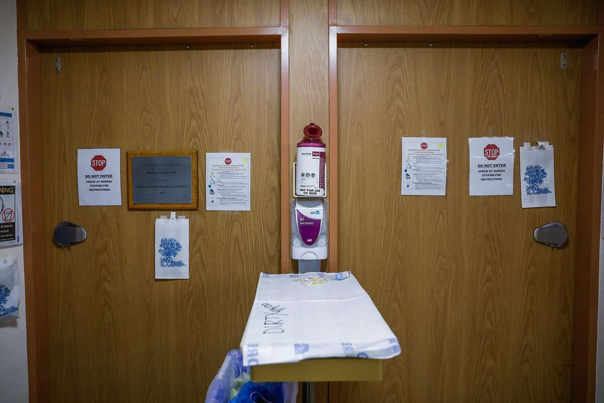 Doors to patients rooms on the Covid-19 floor at Saint Francis Hospital in San Francisco on Monday, April 6, 2020.