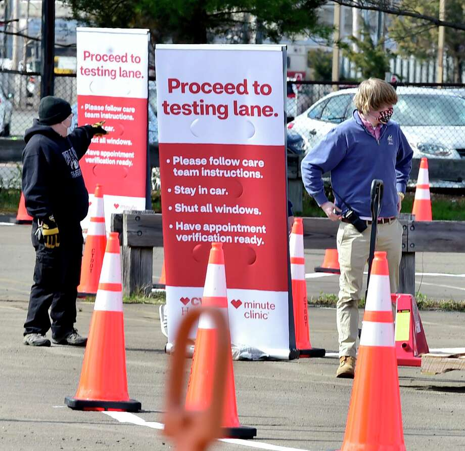 New Haven, Connecticut - Wednesday, April 15, 2020: A drive-through COVID-19 testing site is being prepared Wednesday afternoon at the former Gateway Community College at 60 Sargent Drive in New Haven and will be opened soon by the state in conjunction with CVS and Abbott Laboratories, at which four lanes will be able to accommodate up to 750 cars daily. Rick Fontana, the city's director of the Office of Emergency Management, said it will be the only such site in Connecticut. Photo: Peter Hvizdak / Hearst Connecticut Media / New Haven Register