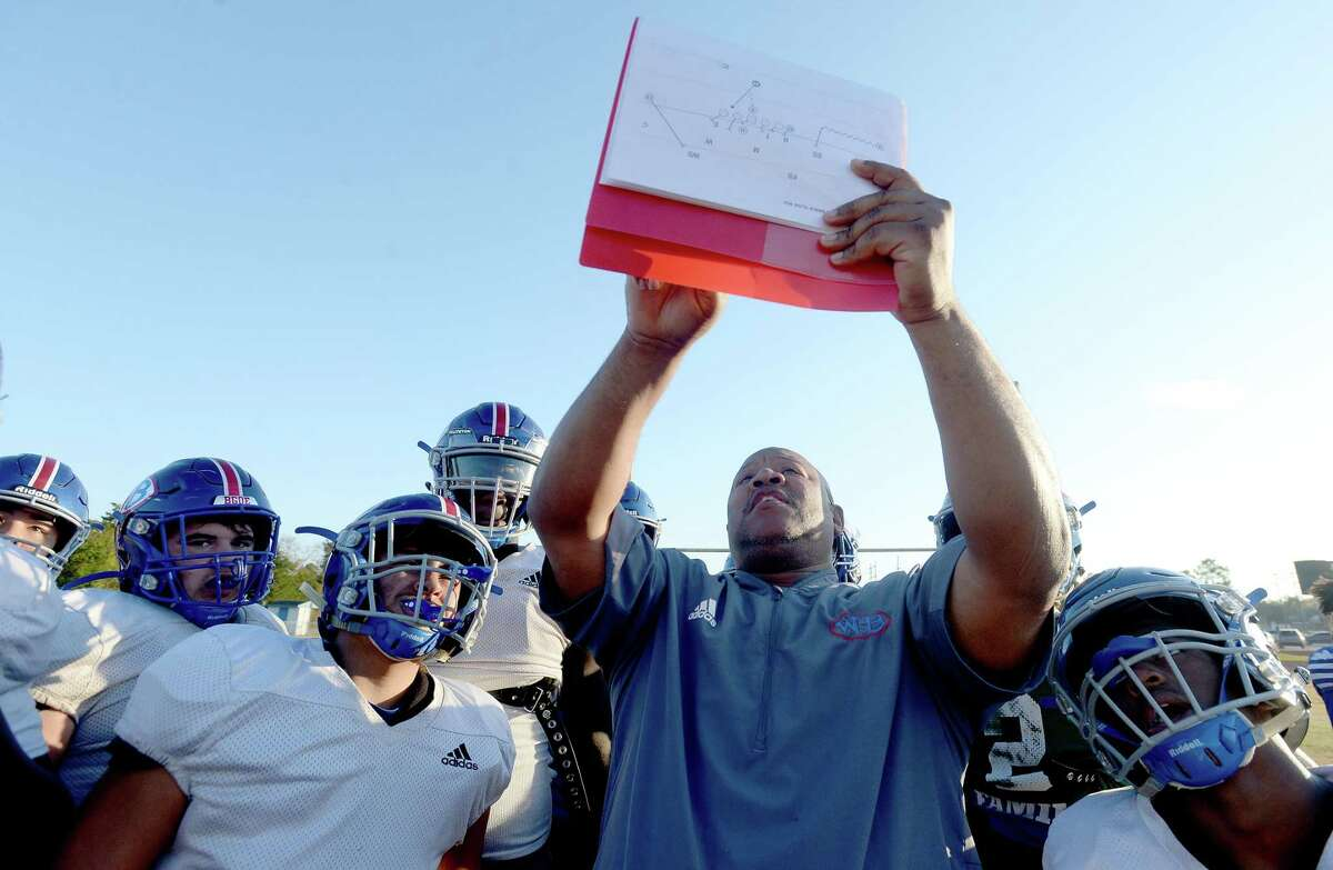 West Brook assistant James Harper goes over the gameplan with players at practice. Harper has since accepted a job on the Summer Creek coaching staff. Photo by Kim Brent/The Enterprise.